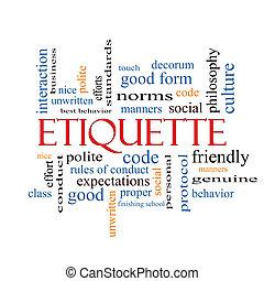 Etiquette Wortwolke Konzept.