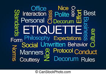 Etiquette Wortwolke.