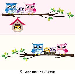 Eulen-Familien-Illustration