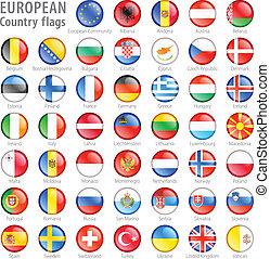 Europäische Flaggenknöpfe eingestellt