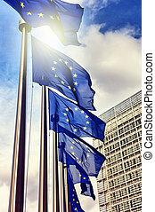 Europäische Gewerkschaftsflaggen.