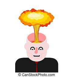 Explosion des Gehirns. Öffnen Sie den Kopf. Vector Illustration