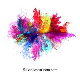 explosion, weißer hintergrund, gefärbt, pulver