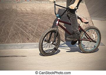 extrem, street-bike, sport., seine, junge, springende