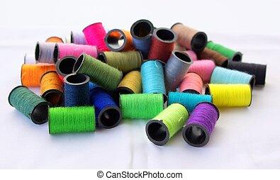 fäden, farben, nähen, einige, verschieden