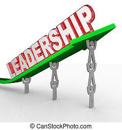 Führungswort Team, das Pfeil-Management-Vision aufhebt