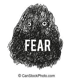 fürchten, monster, abbildung