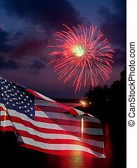 fahne, feuerwerk, amerikanische