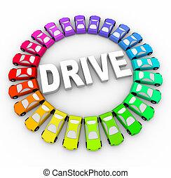 Fahren - viele farbenfrohe Autos im Kreis
