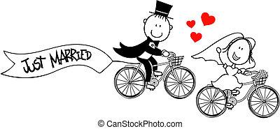 fahrräder, lustiges, stallknecht, braut