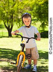 fahrrad, seine, junge