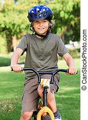 fahrrad, wenig, seine, junge