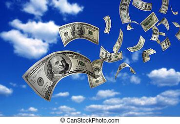fallenden geld, rechnungen, $100