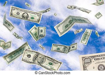 fallender , himmelsgewölbe, bargeld