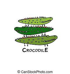 Familie Crocodiles, Sketch für Ihr Design