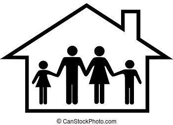 familie, haus, sicher, eltern, daheim, kinder, glücklich