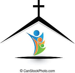 Familie in Kirchenlogo