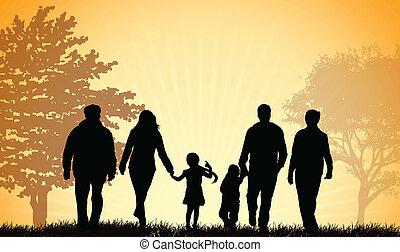 Familie läuft zusammen.