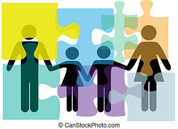 familie, leute, puzzel, loesung, gesundheit, dienstleistungen, problem