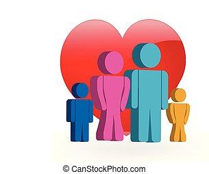Familie liebt 3D Logo.