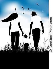 Familie mit Baby-Lauf auf dem Sommerfeld