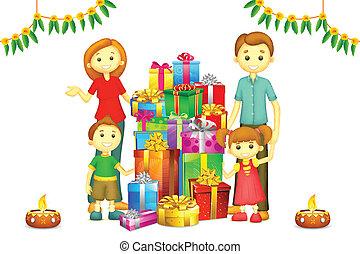 Familie mit Diwali-Geschenk