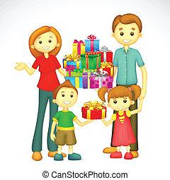 Familie mit Urlaubsgeschenk