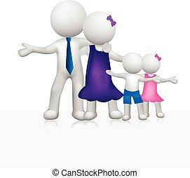 Familien-Dreiweiße Menschen-Logo.