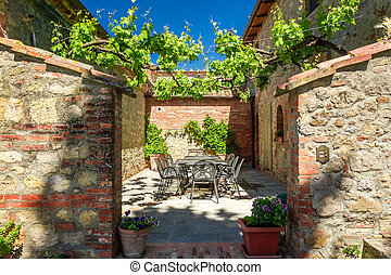 Familien-Esszimmer in Tuscany Agritourismus, Italien