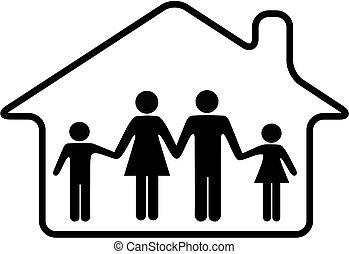 Familieneltern und Kinder sicher zu Hause