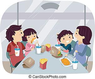 Familienessen in Fastfood