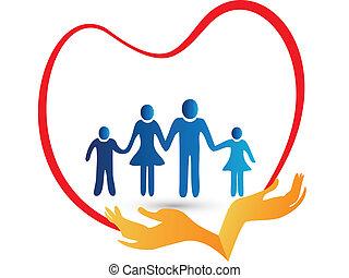 Familienliebe durch Handzeichen geschützt.