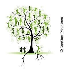 Familienstammbaum, Verwandte, Menschen Silhouette