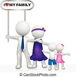 Familienzeichen 3D-weiße Menschen Logo.