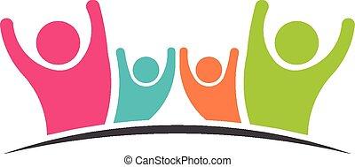 Family Team 4 glückliche Menschen Logo.
