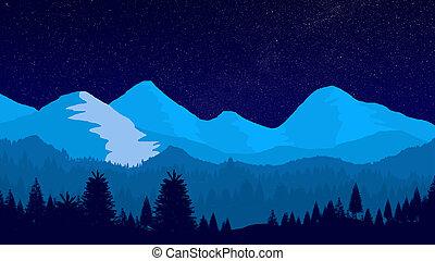 fantasie, winterlandschaft, nacht