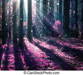Fantasielandschaft. Mysteriöse alte Wälder