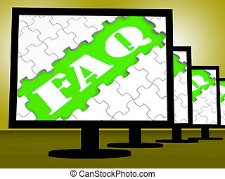 Faq auf Monitoren zeigt häufig gestellte Fragen online.