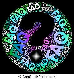 Faq Fragezeichen zeigt häufig gestellte Fragen.