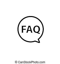 faq, icon., frage, frage, design, vektor, wohnung, hilfe, vortrag halten , frequently, informationen symbol