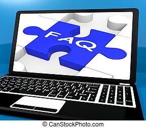FAQ-Puzzle auf Notizbuch, das Online-Unterstützung zeigt