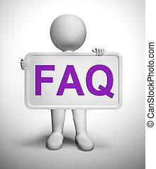 Faq Symbol Icon bedeutet Antworten auf Fragen, um Benutzer oder Mitarbeiter zu unterstützen - 3D Illustration