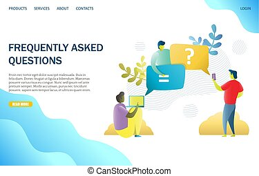 FAQ Vektor Website Landing Page Design Vorlage