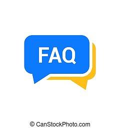 faq, wohnung, frequently, symbol, vortrag halten , informationen, design, frage, frage, vektor, icon., hilfe