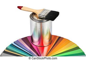 Farbbürste und Farbführerproben