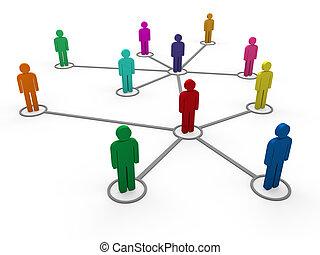 farbe, 3d, vernetzung, mannschaft