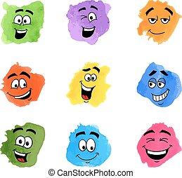 farbe, emotional, flecke, gesichter