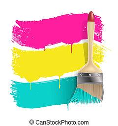 farbe, farbe, banner, bürste