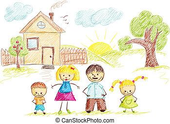 farbe, haus, skizze, familie