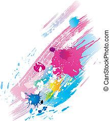 farbe, linie, bürsten, spritzer, hintergrund